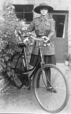 1920s Girl Guide with Bicycle
